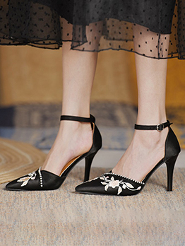 Latest Style Fashion Embroidered Ankle Strap Heels