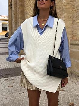 New White V Neck Camisole Sweater