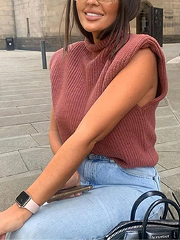 New Solid Mock Neck Knitting Camisole Sweater