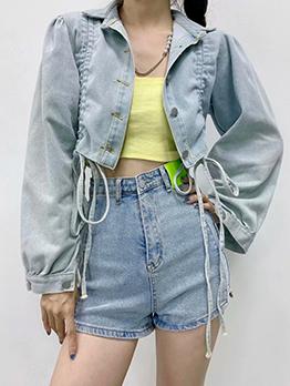 Fashion Drawstring Design Denim Short Jacket