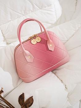 Trendy Gradient Color Rhombus Lattice Zipper Handbag