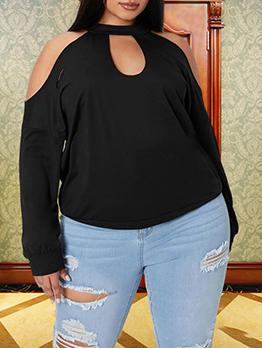 Casual Black Cold Shoulder Fashion Plus Size Top