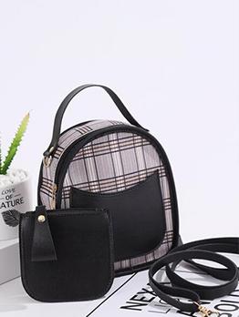 Versatile Trendy Plaid Patchwork Backpack For Women