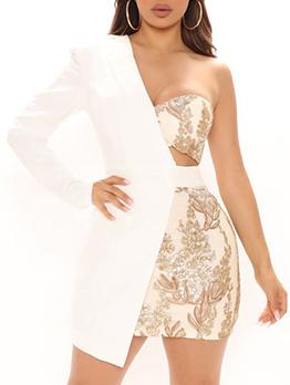 Solid Single Side Long Sleeve Irregular Coat