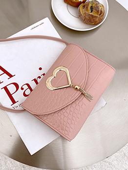 Casual Alligator Print Heart Hasp Tassel Shoulder Bag