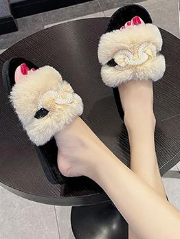 Korean Style Faux Fur Slippers For Women