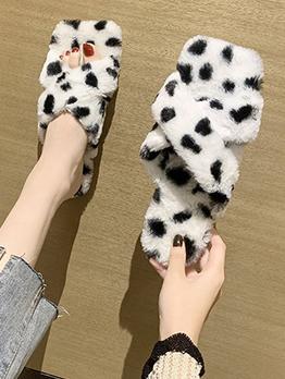 House Dot Square Toe Faux Fur Women Slippers