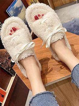 New Lamb Wool Flat Round Toe Ladies Slippers