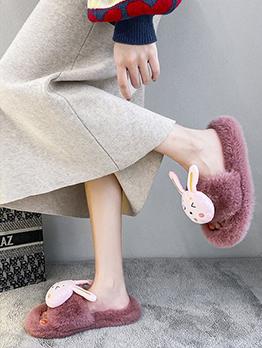 House Rabbit Faux Fur Slippers For Women