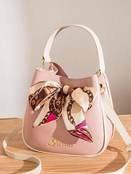 Korean Style Drawstring Bow Bucket Shoulder Handbag