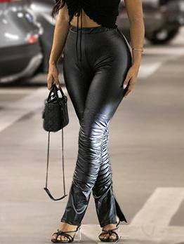 Fashion Sexy Skinny Ruched Pu Long Pants
