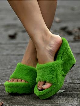 Sexy Mink Fur Wedge Ladies Slippers