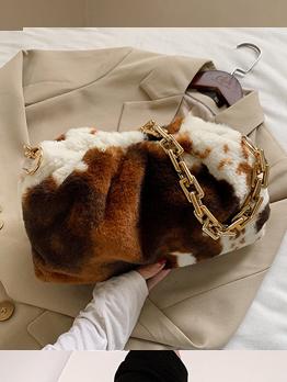 Cute Cow Printed Winter Soft Shoulder Bag