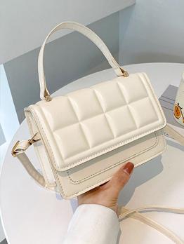Simple Design Grid Hasp Shoulder Bag For Women
