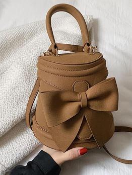 Chic Bow Pure Color Hasp Bucket Shoulder Handbag