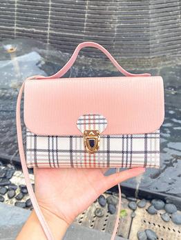 New Contrast Color Plaid Cross Shoulder Bag