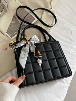 Versatile Zipper Grid Scarf Shoulder Handbag For Women