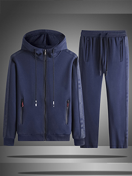 Plain Hooded Straight Pants Activewear For Men