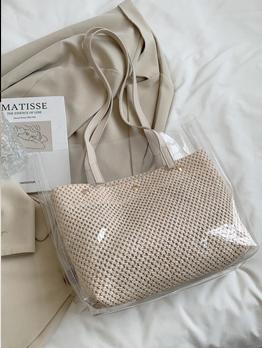 Casual Plastic Solid Hasp Shoulder Tote Bag