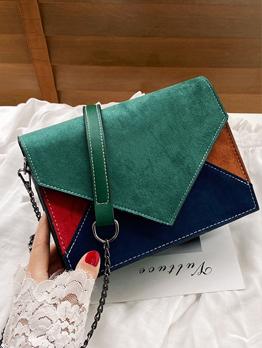 Chic Fashion Contrast Color Patchwork Chain Shoulder Bag