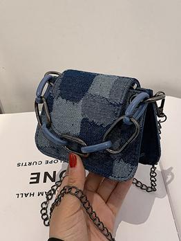Chic Plaid Outdoors Chain Canvas Shoulder Bag