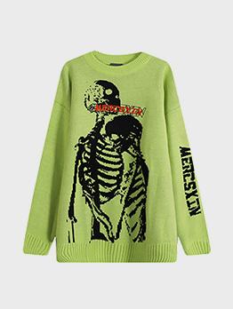 Skull Print Design Stylish Knitted Sweater