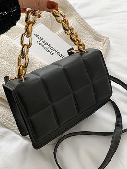 Grid Casual Chain Hasp Shoulder Bag