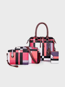 Fashion Contrast Color Cat Pendant Handbag Sets