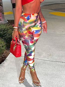 Multicolored High Waist Legging Long Pant For Women