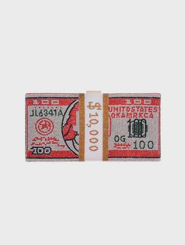 Dollar Print Rhinestone Chain Bag For Evening