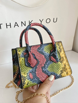 Trendy Snake Print Small Handbags With Chain