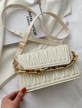 Vintage  Solid Hasp Chain Shoulder Bag For Women