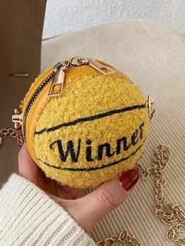 Lambswool Letter Basketball Round Mini Shoulder Bag