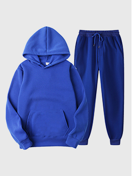 Asian Size Solid Color Hoodie Two Piece Workout Clothes