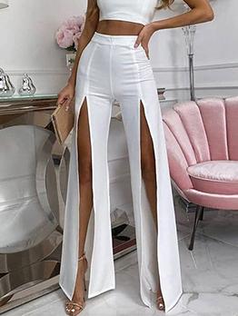 Autumn High Waist Slit Wide Leg Pants Women