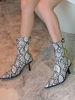 Snake Printed Euramerican Style High Heel Boots
