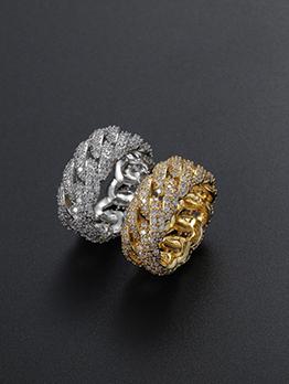 Hip Hop Zircon Easy Matching Couple Ring