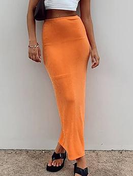 Autumn Solid Elastic Fly Straight Maxi Skirt