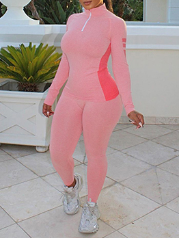 Exercise Contrast Color Long Sleeve Athletic Wear