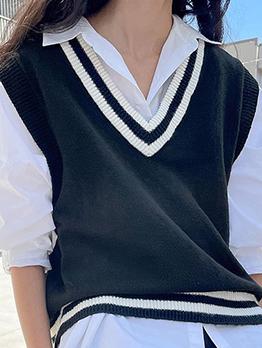 Preppy Style Wool Weaving  V Neck Vest Top