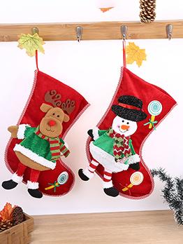 Euro Style Christmas Gift Socks Decorated With Plush Dolls