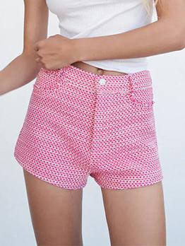High Waist Summer Casual Pink Short Pants