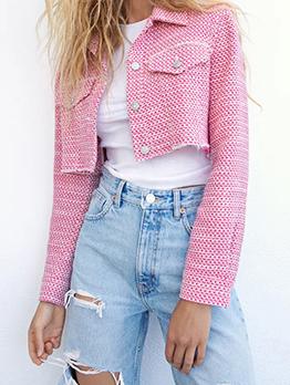 Pink Fashion Casual Rove Fabric Short Coat