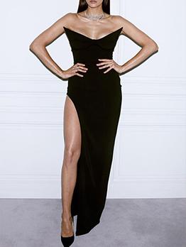 Designer Black Sleeveless Slit Maxi Party Dress