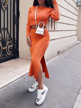 Street Solid Cropped Top And Slit Skirt Sets