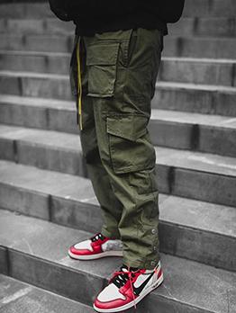 Autumn Solid Cargo Long Pants For Men