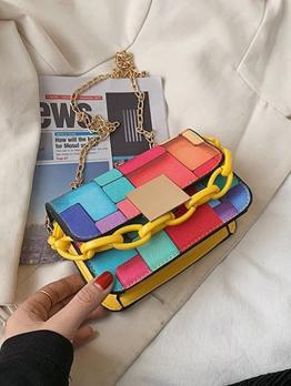 Chic Plaid Contrast Color Design Shoulder Bags
