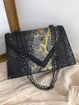 Euro Style Snake Print Black Chain Shoulder Bags