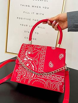 National Style Printed Hasp Shoulder Handbag