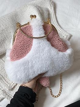 Lovely Fuzzy Contrast Color Chain Shoulder Handbag